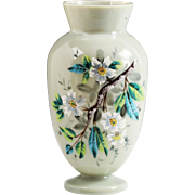 Antique Victorian slate opaline glass vase, hand painted dogwood flowers