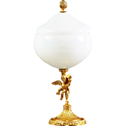 VINTAGE MIDCENTURY FRENCH WHITE OPALINE GLASS BOX GILT ORMOLU ANGEL PEDESTAL