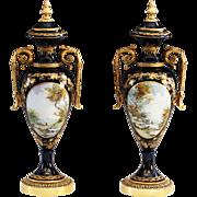 Pair of Antique 19th C French Sevres Cobalt porcelain & bronze Urn - Red Tag Sale Item