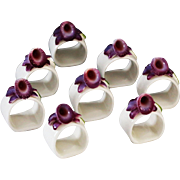 Set of 8 Vintage Fine Bone China Hand Painted Porcelain Napkin Ring holders - Red Tag Sale Item