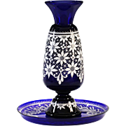 Vintage Italian Marco Testolini Vase & Tray Royal blue art glass white lace