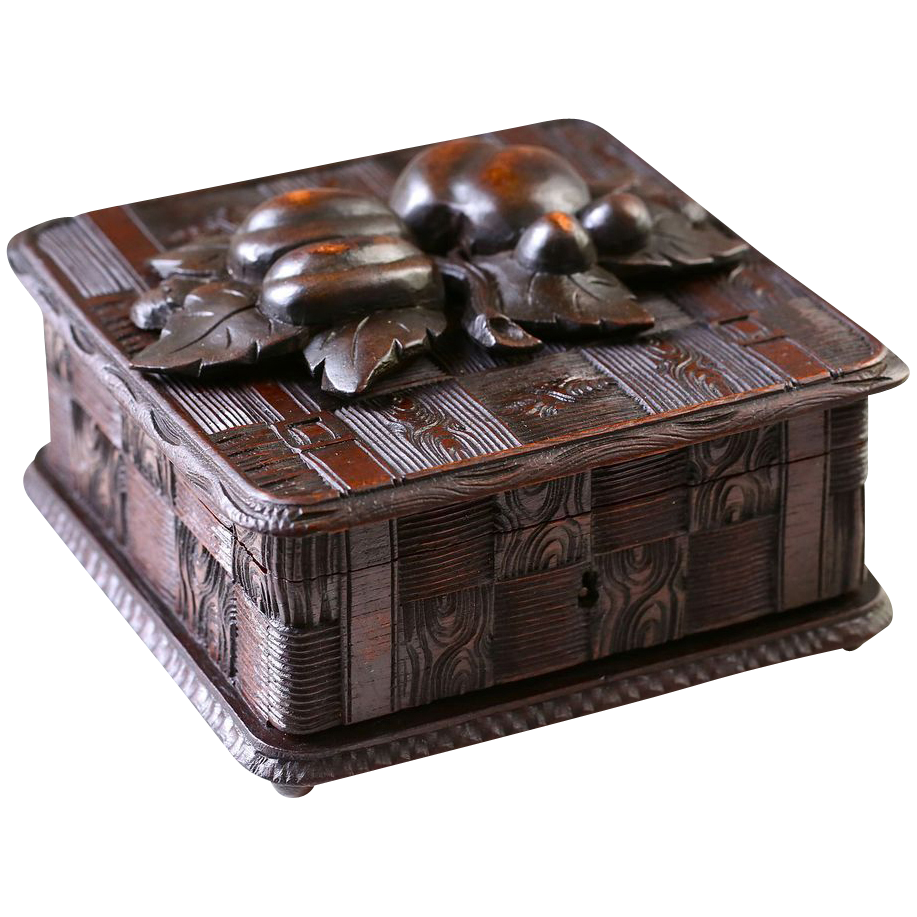 "7""x7"" Hand Carved Antique Black Forest wood jewelry box, trinket casket"