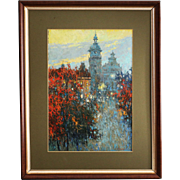 Oil on board painting City in Twilight by Ukrainian artist Martunuik signed