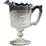 Antique 1879 EAPG original Gillinder Sons Westward Ho glass Creamer