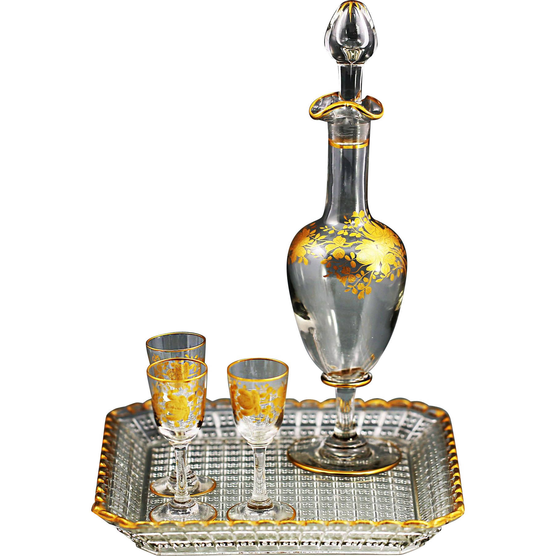 Antique French Crystal Glass Sherry Set Decanter