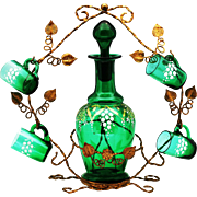 Antique French emerald green glass liquor set, Decanter & Cordials in ormolu mounts