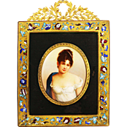 Antique French Enamel on Porcelain Miniature Portrait Plaque Bronze Champleve Frame