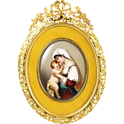 Antique French enamel on porcelain miniature painting, gilded bronze frame