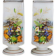 "9.5"" Antique white Opaline Glass Vases Hand painted pastoral scene"