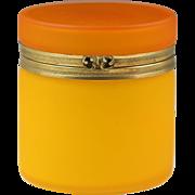 XL French orange opaline glass hinged trinket Box