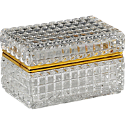 Large clear crystal trinket or jewelry Casket or Box with hinged lid