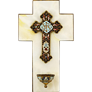 Antique French gilt bronze champleve or cloisonne on onyx Crucifix cross Holy water Font