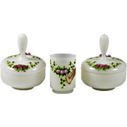 Set 2 vanity powder Boxes & Tumbler white opaline glass hand painted Roses Leafs