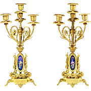 Pair of 19th century French Empire gilt bronze porcelain 4 light Cadleholders