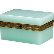 French Seaweed opaline glass hinged Box or Casket