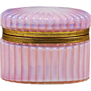 Italy Murano pink opaline art glass hinged Box or Casket