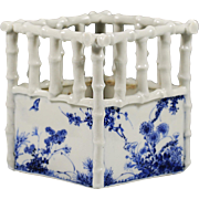 Chinese Blue White Porcelain Flower or Plant Pot, square bamboo shape