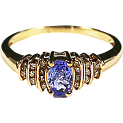 Fine 10K yellow gold Diamond & Amethyst ring size 6 sizable