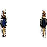 14K yellow gold earrings with blue sapphire and diamonds