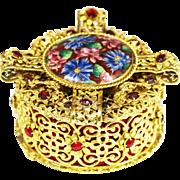 Antique Austrian jeweled gilt filigree ormolu hinged Jewelry Box  or Casket