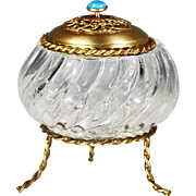 Early 20th century French clear crystal glass Box jeweled ormolu lid