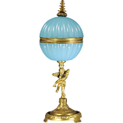 French blue opaline glass hinged Box on ormolu Angel pedestal