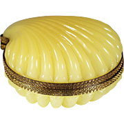 Yellow opaline glass trinket hinged Box or jewelry Casket in clam shell shape