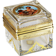 Made in Italy Murano enamelled crystal glass trinket Box or Casket