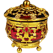 Antique French Palais Royal Box cranberry glass in gilt ormolu mounts