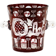 Vintage Czech Republic Bohemian Egermann wine red cut crystal Ice Bucket
