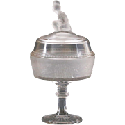 Antique 1879 EAPG original Gillinder Sons Westward Ho glass lidded Compote