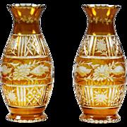 Vintage Bohemian Czech Egermann art glass Vase floral engrave cut amber to clear