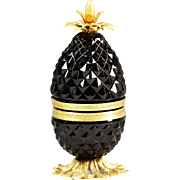 French black opaline glass pineapple hinged jewelry Box