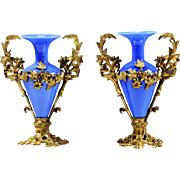 Pair Antique French Aesthetic Movement blue opaline glass Vases in ormolu mounts