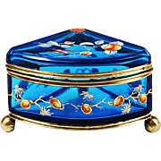 Rare Antique French blue enamelled art glass hinged trinket Box