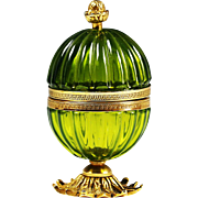 French green opaline hinged box ribbed glass in ormolu