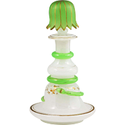 Antique French white & green Opaline glass Perfume Bottle with snake