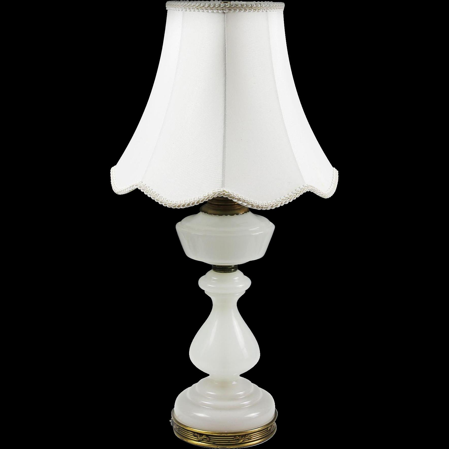 Vintage glass table lamps - Vintage Warren Kessler White Opaline Glass Table Lamp Hollywood Regency