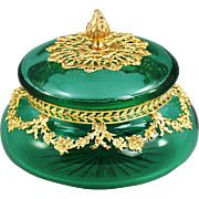 Antique French emerald green crystal glass trinket Box ormolu mounts