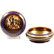 Antique FSC Carlsbad fine porcelain Box with Napoleon decor