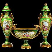Set Antique c.1900 2 Urns & Bowl Signed French Sevres porcelain & gilded bronze