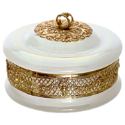 Antique white opaline glass trinket, jewelry lidded box set into gilded bronze filigree mounts