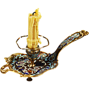Antique French Napoleon era Candle holder enameled bronze champleve, cloisonne