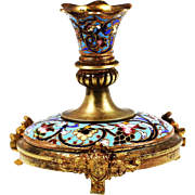 Antique French Napoleon Candle holder enameled gilded bronze champleve cloisonne