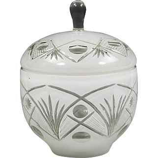 Vintage Bohemian Czech crystal Cookie Jar or Box white overlay glass cut clear