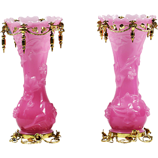 Pair Antique French Baccarat Vases Pink overlay white opaline glass ormolu mount