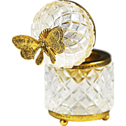 Antique French clear crystal Baccarat Box hinged lid with butterfly finial