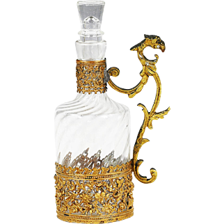 Antique French clear crystal Baccarat Bottle or Decanter in ormolu mounts