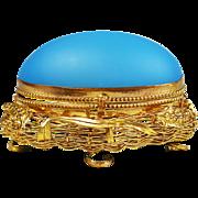Antique French crochet etui opaline glass Egg Box Grand Tour Palais Royal souvenir
