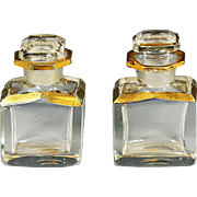 Paire of Antique French crystal glass perfume scent Bottles